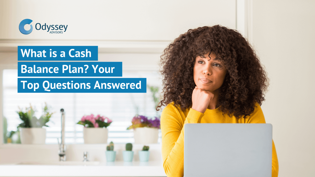 """A woman sitting at a computer is wondering, """"What is a Cash Balance Plan?"""""""